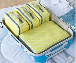 4pcs Portable Travel Bag Waterproof Folded Nylon Organizer Bag- Yellow