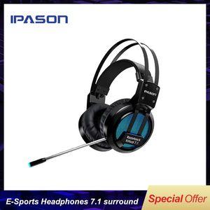 IPASON MP-X3 E-sport Casque Gaming Casques d'écoute Casque lumineux casque surround 7.1 canaux audio Surround 7.1