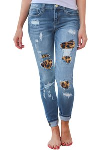 Primavera Verão Mulheres Azul Preto Jeans Designer Leopard Buraco Rasgado Calças Lápis Skinny Mid Cintura Mulher Jeans Slim Streetwear Tamanho S-2XL