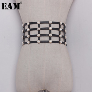 [EAM] 2019 New Spring Solid Color Black Hollow Out Pearl Nailed Elastic Belt Women Fashion Tide All-match JC37001