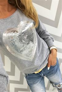 Женщины блестками толстовки толстовка новый с длинным рукавом сердце пуловеры спортивный костюм Леди топы Sudaderas Mujer Poleras Camisetas