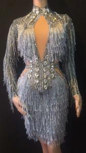 2020 Sparkly Silber Quaste Strass Kleid Stretch dünnt Big Stone Female Singer Outfit Nachtclub-Geburtstags-Party Stage Show Sexy Kleider