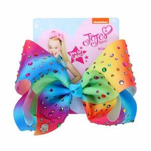"8"" Girls Jojo Siwa Bows Baby Hair Clip Large Jojo Bows Handmade Crystal Hairpin Ribbon Bowknot Knot Hair Accessories For Kids"