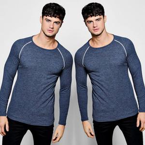 Hot 2018 neue Frühlings-Mode Marke O-Ansatz Slim Fit Langarm-T-Shirt Männer Trend beiläufiges Mens-T-Shirt Korean-T-Shirts