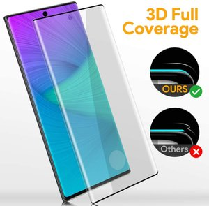 For Samsung Note 20 Pro Edge Glue No Hole Work Finger Print 9H Hardness Bubble Free Case Friendly Tempered Glass With Package