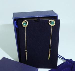 2019 New Luxury Earrings Blue Diamond Heart Shaped Circle Pendant Earrings Designer Women Jewelry