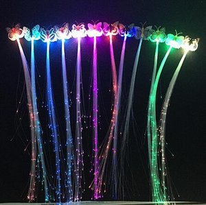 Braid donne variopinte clip di capelli della farfalla luminoso flash LED del pulsante di capelli fibra tornante Up Light Party Halloween Night Xmas Decor Batteria