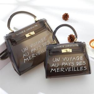Donne Borse di colore della caramella della gelatina di sacchetti della borsa di colore solido Sacchetto trasparente libero del PVC Crossbody per le donne