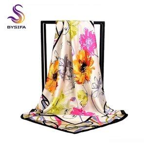 [BYSIFA] Moda Silk Scarf Shawl 2018 New Outono Inverno Mulheres 100% puro lenço de seda floral elegante Grande quadrado Chefe Lenços