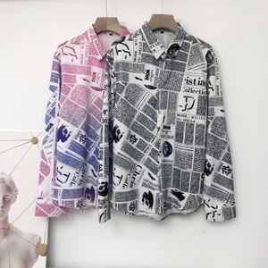Fashion New newspaper printing Shirt Men Autumn New Long Sleeve Mens Casual Shirts Streetwear Slim Fit Night Club Shirt Dress top