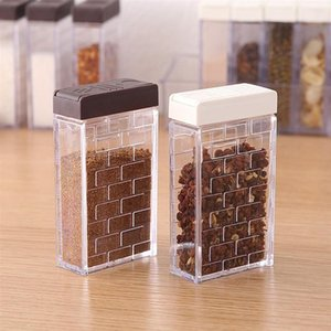4pcs Transparent Seasoning Boxes With Double-Outlet Lid Sealed Condiment Containers Spice Shakers (Ivory+Coffee)