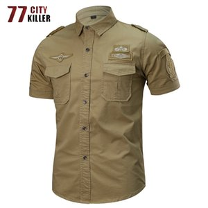 77City Killer-5XL 6XL Sommer-Shirt Männer aus 100% Baumwolle Kurzarm-Armee Shirts Male Air-Force Tactical Badge Chemise Homme