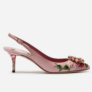 Floral Sandalen mit niedrigem Absatz bedruckt Leder Floral spitze Zehe 6 10cm Kristallpumpen Jeweled Brauthochzeitsschuhe Slingback High Heels