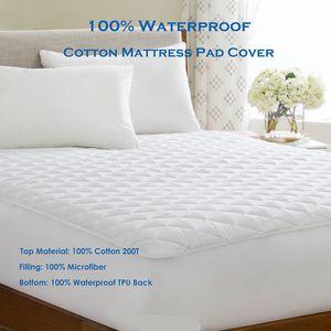 Kral 180X210 cm %100 % pamuk su geçirmez yatak Topper tahta kurusu geçirmez yatak koruyucu yumuşak ped yatak yatak örtüsü Matelas