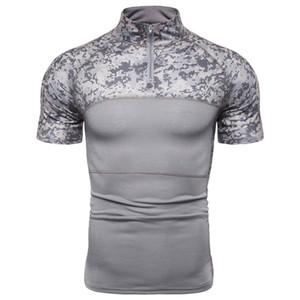 NEGIZBER 2020 Nuova rappezzatura di modo manica corta T-shirt Uomo Casual Camouflage all'aperto Abbigliamento Uomo T-shirt