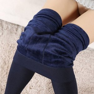 Mulheres Calor velo Inverno elástico Leggings lã quente fino forrado de calças térmicas H9
