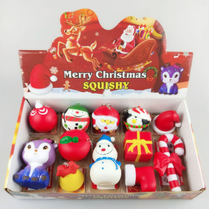 Squishy Fidget PU Christmas Toy Set Slow Rising Soft Squeeze Cute Cell Phone Strap Gift Decompression Toys Christmas Decorations GGA2874