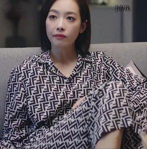 Caída del verano de las mujeres de seda del hielo pantalones largos de la manga Traje Carta estilo suelto pijama de las señoras a casa pijamas de las señoras envío libre fijado