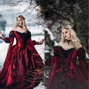 Borgoña gótica Sleeping Beauty Apliques de encaje princesa medieval vestidos de noche de manga larga vestido de baile de estilo victoriano de la mascarada de Cosplay