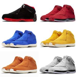 Nuovo Blu Giallo Arancione Suede 18s scarpe da basket Definizione Momenti Mens Toro Rosso Nero Reali 18 XVIII Cool Grey Retro Sport Sneaker