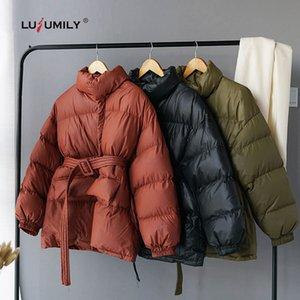 Lusumily Inverno palla piumino Donne spessa caldo parka stand Pulsante Collor cappotto bolla coreana cotone imbottito giù copre