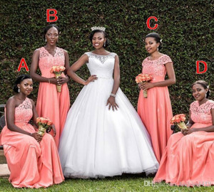 2020 South African Coral Bridesmaid Dresses Cheap Lace Top JIllusion Floor Length Country Wedding Bridesmaids Dresses Maid of Honor Gowns