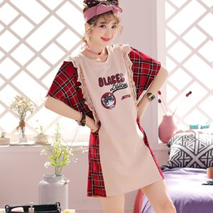 Ladies Home Wear Plaid-Spitze-Pyjamas Baumwolle Kurzarm-Pyjamas Sommerbaderock Kein Pelzkugel gedruckt Negligée