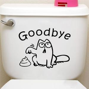 Cute Black Cat Say Goodbye Toilet Wall Decals Bathroom Shop Window Car Tank Home Decor Cartoon Animal Stickers Vinyl Mural Art