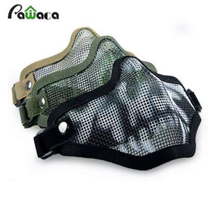 Boutique Tactique Chasse Mental Fil Demi Masque En Plein Air Vélo Equitation En Plein Air Champ CS Mesh Airsoft Masque Paintball Résistant