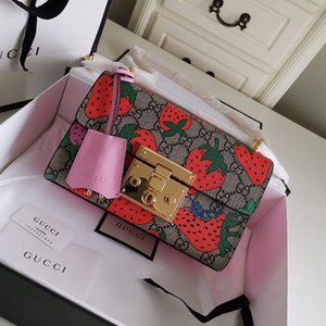 High quality women package crossbody classic bag socialite fashion single shoulder bag Strawberry Printed leather chain bag shoulder bags
