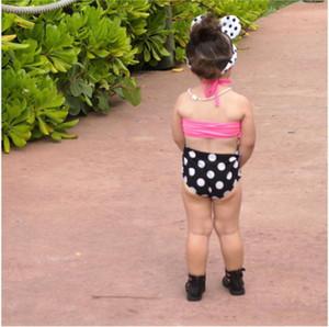 3 UNIDS Bebé Niños Niñas Bikini Verano Conjuntos Lindos Halter Tops + Punto de Impresión Pantalones Cortos Diadema 3 UNIDS Traje de Natación Niños Bikini Set