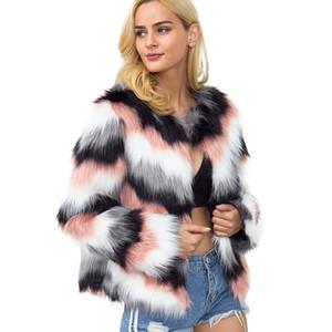 KLV 2018 Dames en manteaux de fourrure Manteau de vison chaud en fausse fourrure d'hiver de dégradé de couleur veste parka vêtement Freeshipping 40pNo17