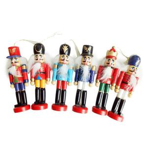 6Pcs / Set Рождественские украшения Главная Щелкунчик деревянный солдатик кукол 12см Tin Toy 6 частей Декоративное Подвеска
