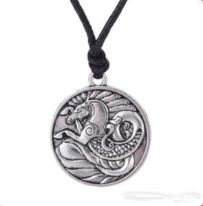 Z10 Seahorse Collana con pendente totem Argento antico con pendente Gioielli nautici Collana con simboli di amuleto irlandese maschile