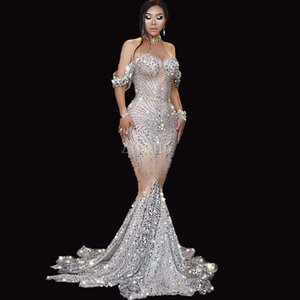 Silver Sparkling Sexy Sequins Evening Dresses Prom Gowns Illusion Crystal Beaded Sweep Train Zipper Backless vestido robe de soiree