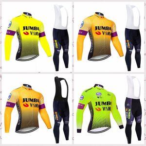 Jumbo equipo de Visma ciclismo mangas largas camiseta de los pantalones del babero conjuntos 2.020 hombres se adaptan al aire libre paseos en bicicleta MTB Ropa C620-21