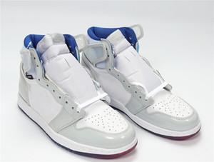 1 Retro High White Blue Jumpman 1s basketball Shoes with WHITE BLUE WHITE AJ1HZ-WRB golf shoes tennis shoes mens designer trainers Schoenen