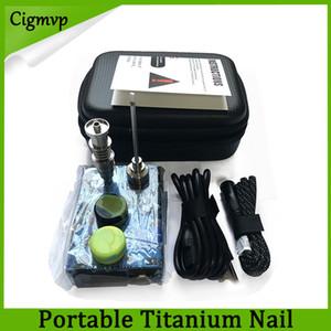 Taşınabilir tırnak electri dab tırnak Dnail kitleri ile TC dijital dabber kutusu Titanyum tırnak var 16 / 20mm için cam bong Camo Ahşap