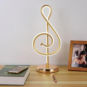 25W Modern Música de Ouro Nota Quarto LED Desk Lamp Artístico Início Sala de cabeceira Decoração Night Light Presente da família Para
