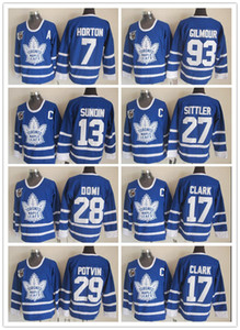 1991 75th Toronto Leafs 17 Wendel Clark 29 Félix Potvin 7 Tim Horton Mats Sundin Tie Domi Darryl Sittler Doug Gilmour Vintage Jersey