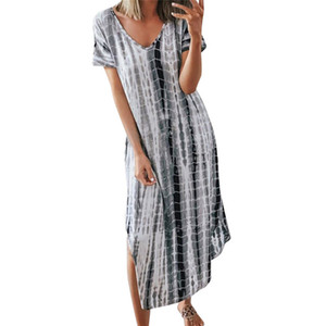 V Neck Tie Dye Women Dresses Summer Loose Split Sexy Ladies Dress Casual Party Female Dress