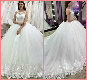 Vestidos de Novia 2020 White Lace Appliques Ball Gown wedding dress sleeveless princess puffy beaded bridal gowns wedding dress