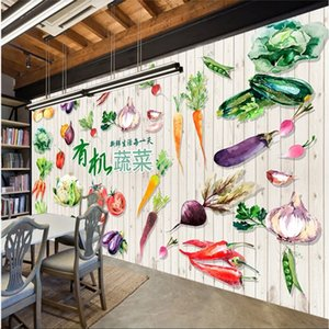 Taze Organik Sebze Bakkal Süpermarket Restoran Duvar Kağıdı 3D Suluboya Metin Duvar Duvar kağıdı Modifiye Olabilir