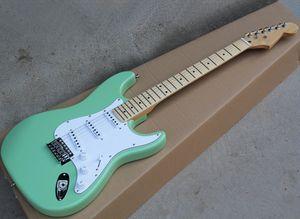 Beyaz Pickguard, SSS Transfer, Maple TUŞE ile Fabrika Toptan Lght Yeşil Elektro Gitar, Reques olarak özelleştirilebilir