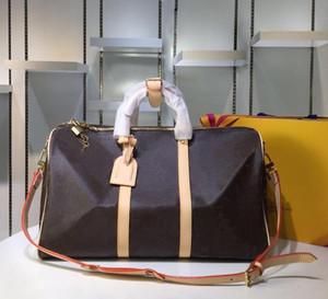 Keepall 45 50 55 Hot bolsos de la marca de viajes para los hombres de cuero reales de calidad superior de las mujeres crossbody de bolsas de bandolera para hombre de las señoras 5 colores