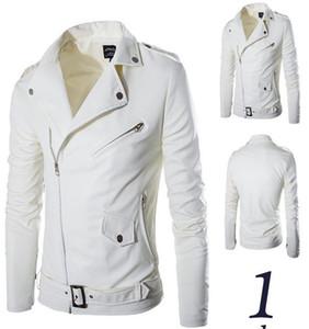 MS PU سترة جلدية معطف الرجال 2018 أبيض اللون المنحدر زيبر اخفض الياقة كم طويل للدراجات النارية السائق الستر شحن مجاني