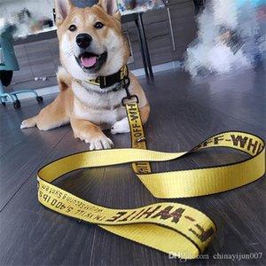 Diseñador OW correa del perro para mascotas collares de perro de los correos de alta calidad de lujo personalizada fuentes del animal doméstico del arnés del perro de nylon Traje de tres piezas 5 colores Elegir