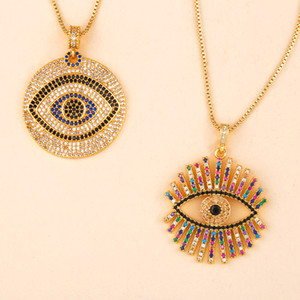 Evil Eye Necklace Iced Out Pendant Luxury Colorful CZ Collar Necklaces Fashion Women Girl 18K Gold Plated Cubic Zirconia Choker Jewelry Gift