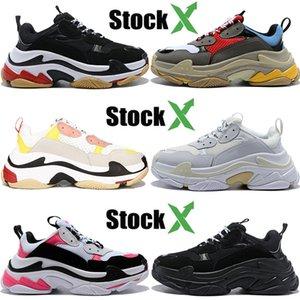 Paris triple s nero bianco Dorky papà scarpe uomini donne poco costoso Sfilata di moda del cuoio genuino della pista esterna del partito scarpe da ginnastica casual stilista