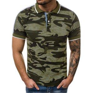 QNPQYX beiläufige Tarnung der Männer Polokurzschluss-Hülsen-Mann Hemden drehen unten Kragen Mode Street Male Drop